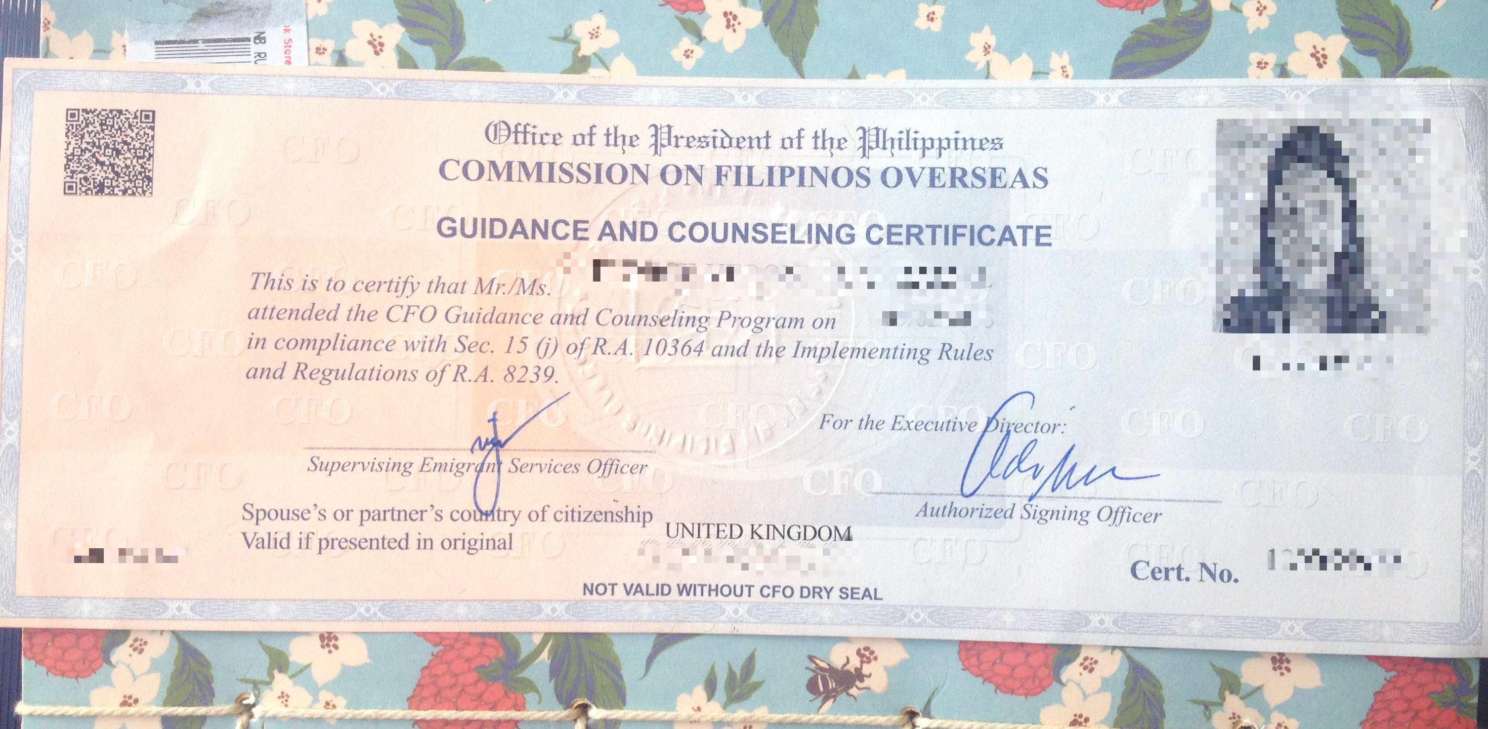Cfo counselling for pinoys with foreign partners shes not from my own cfo certificate without the emigrant sticker xflitez Choice Image